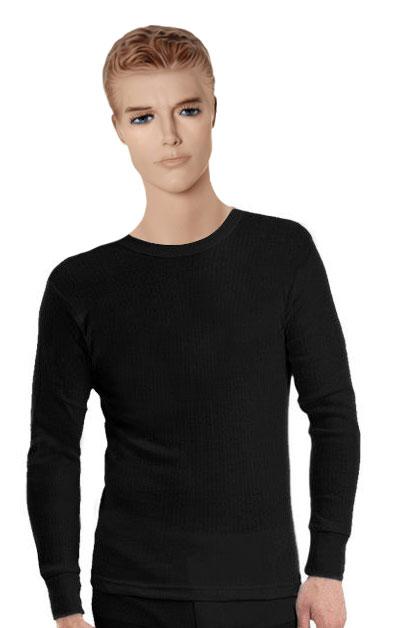 Mens Heat Control Long Sleeve T Shirt Black