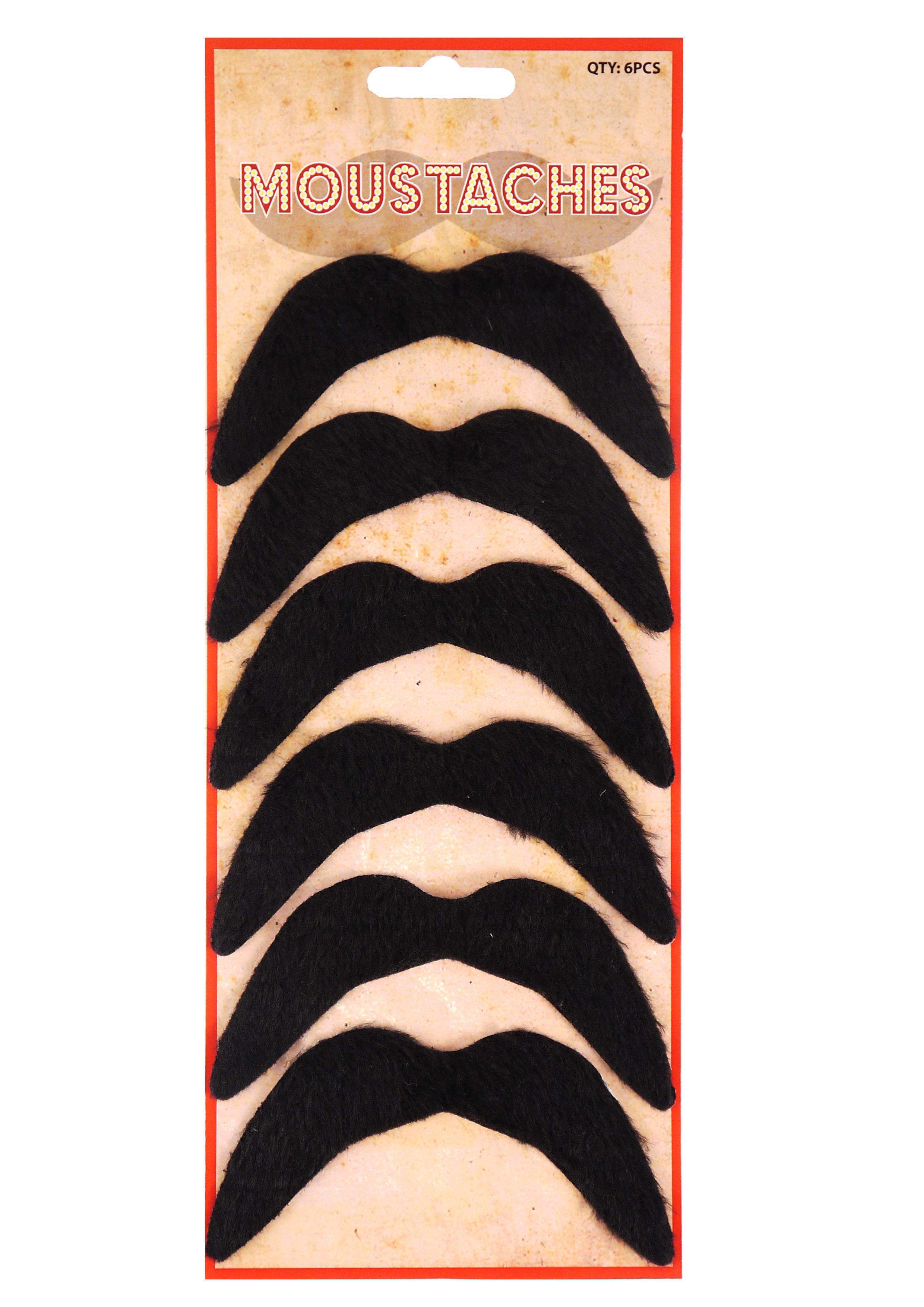 Moustache Black 6 Pc Set