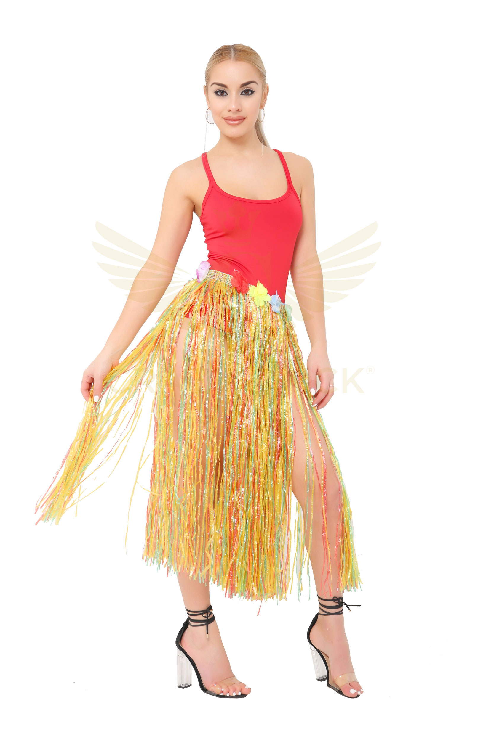 Multi Hula Skirt with Flowers (80cm)