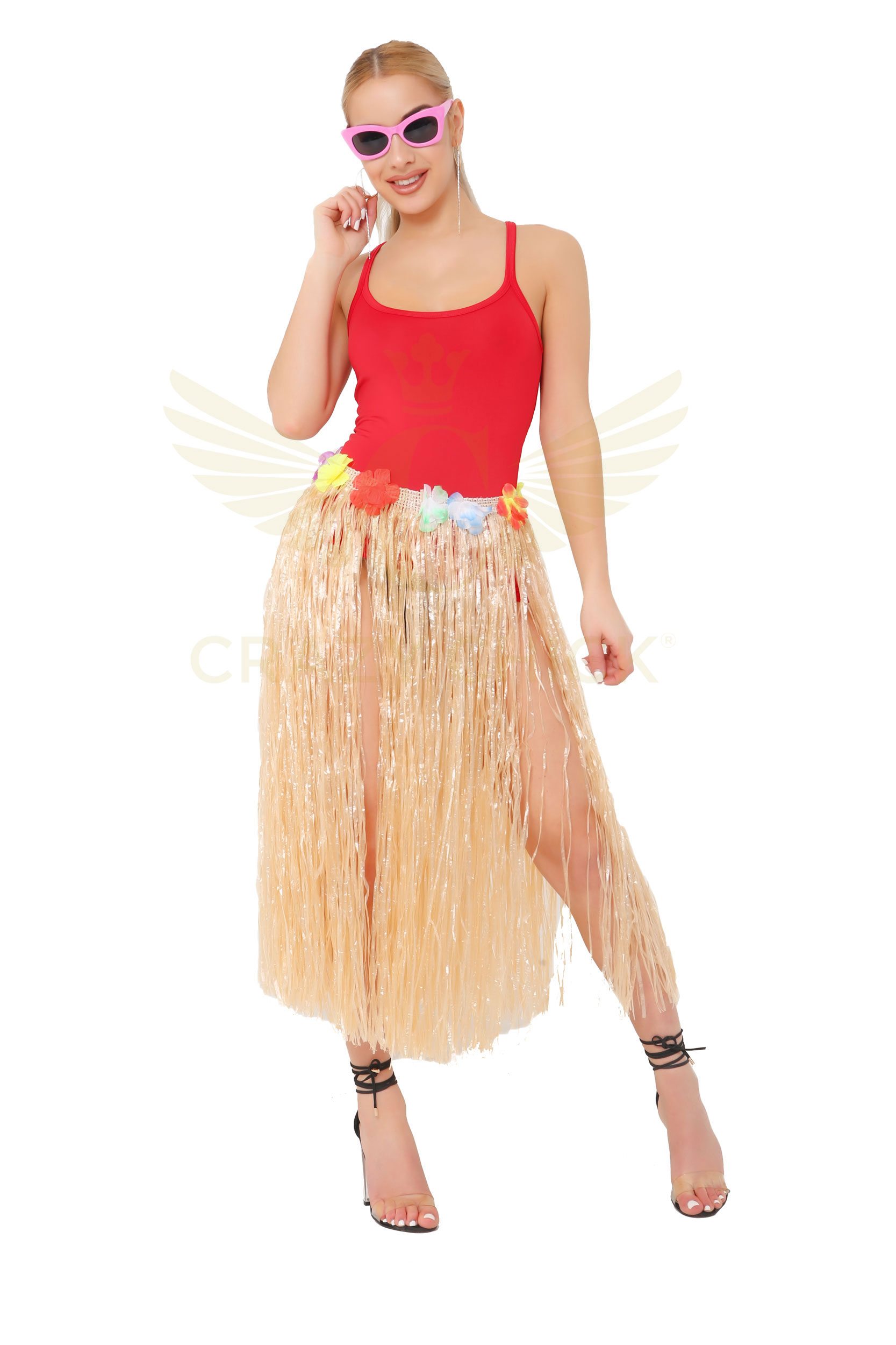 Natural Coloured Hula Skirt with Flowers (80cm)