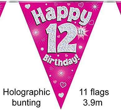 Party Bunting Happy 12th Birthday Pink Holographic 11 flags 3.9m