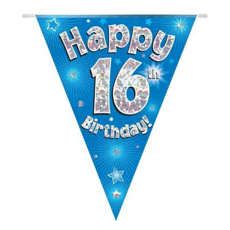 Party Bunting Happy 16th Birthday Blue Holographic 11