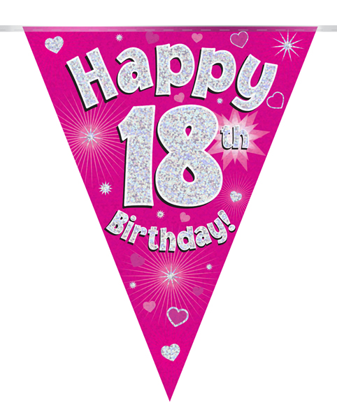 Party Bunting Happy 18th Birthday Pink Holographic 11