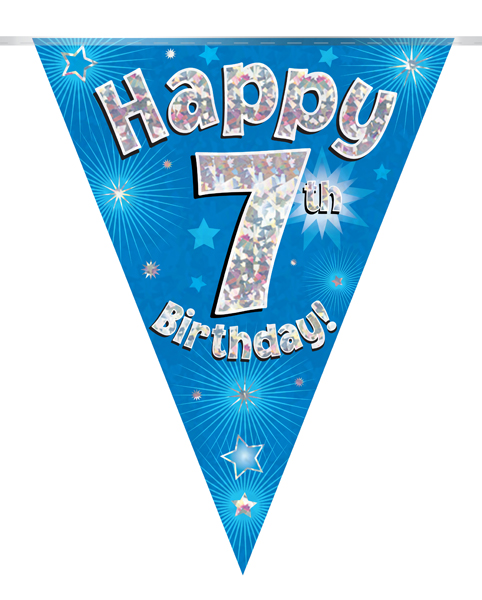 Party Bunting Happy 7th Birthday Blue Holographic 11 flags ...
