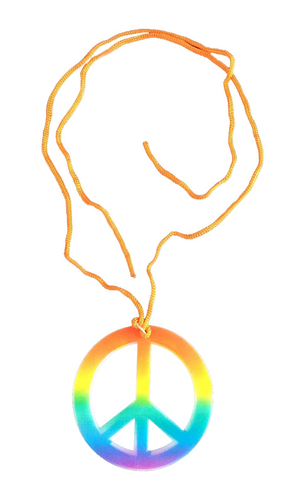 Peace Sign Hippie Necklace Rainbow
