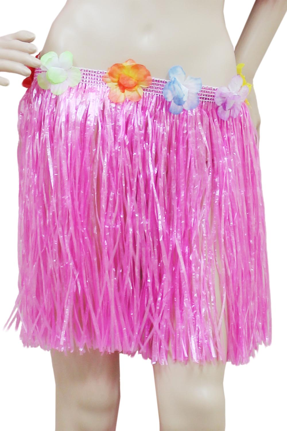 Pink Hula Skirt with Flowers (40cm)