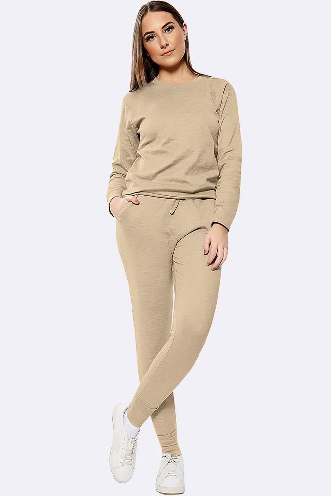 Plain Long Sleeve Top Loungwear Tracksuit Beige