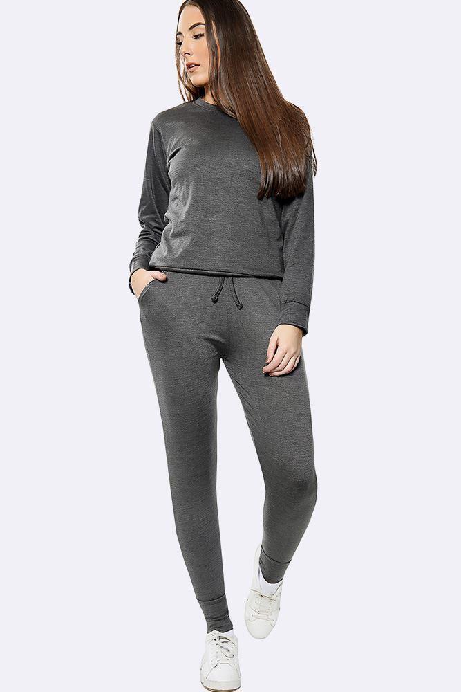 Plain Long Sleeve Top Loungwear Tracksuit Dark Grey