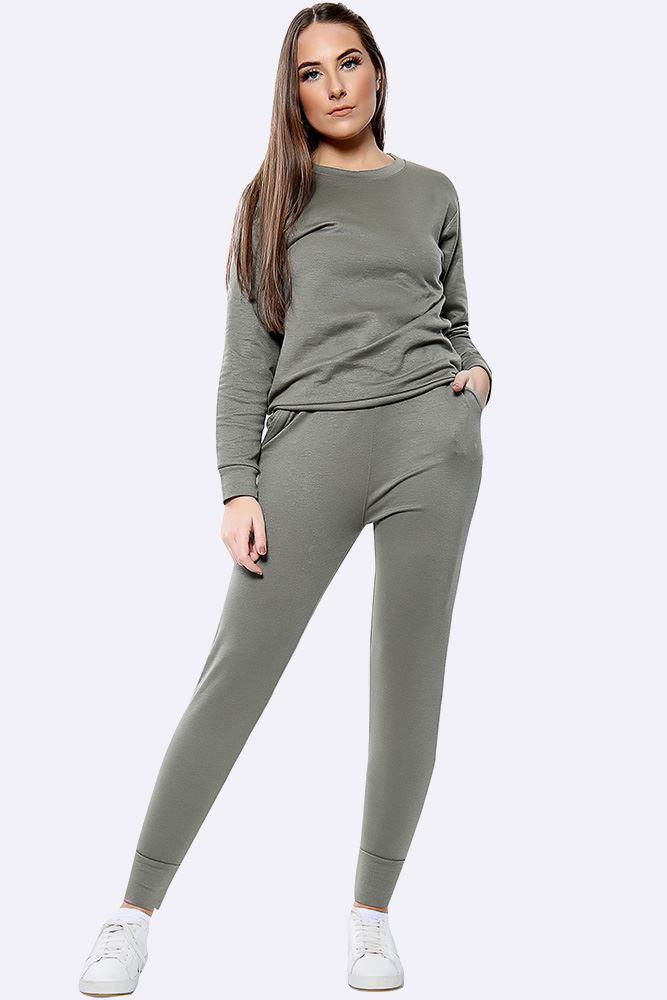 Plain Long Sleeve Top Loungwear Tracksuit Khaki