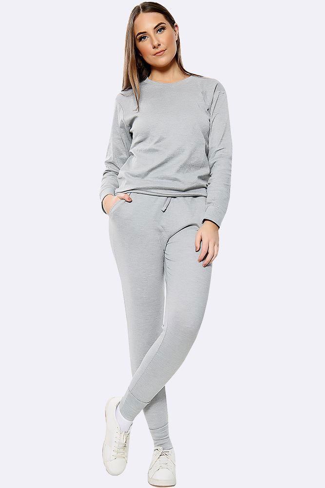 Plain Long Sleeve Top Loungwear Tracksuit Light Grey
