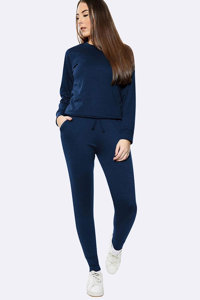 Plain Long Sleeve Top Loungwear Tracksuit Navy Blue