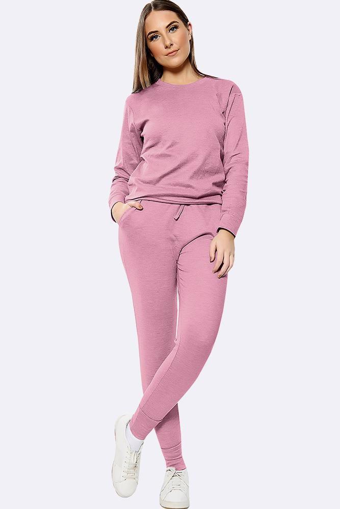 Plain Long Sleeve Top Loungwear Tracksuit Pink