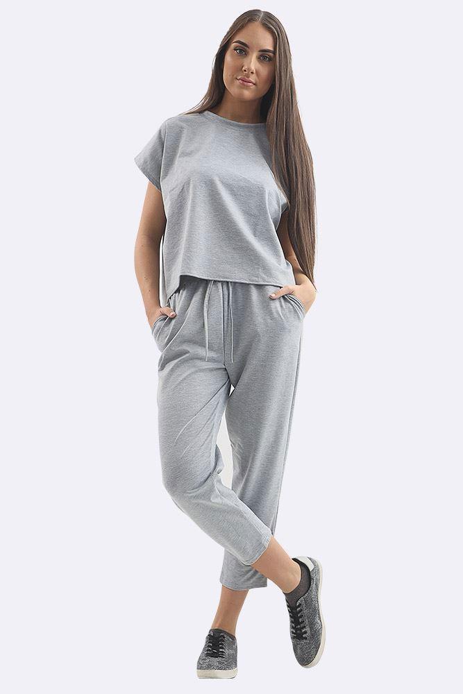 Plain Short Sleeve Tracksuit Grey
