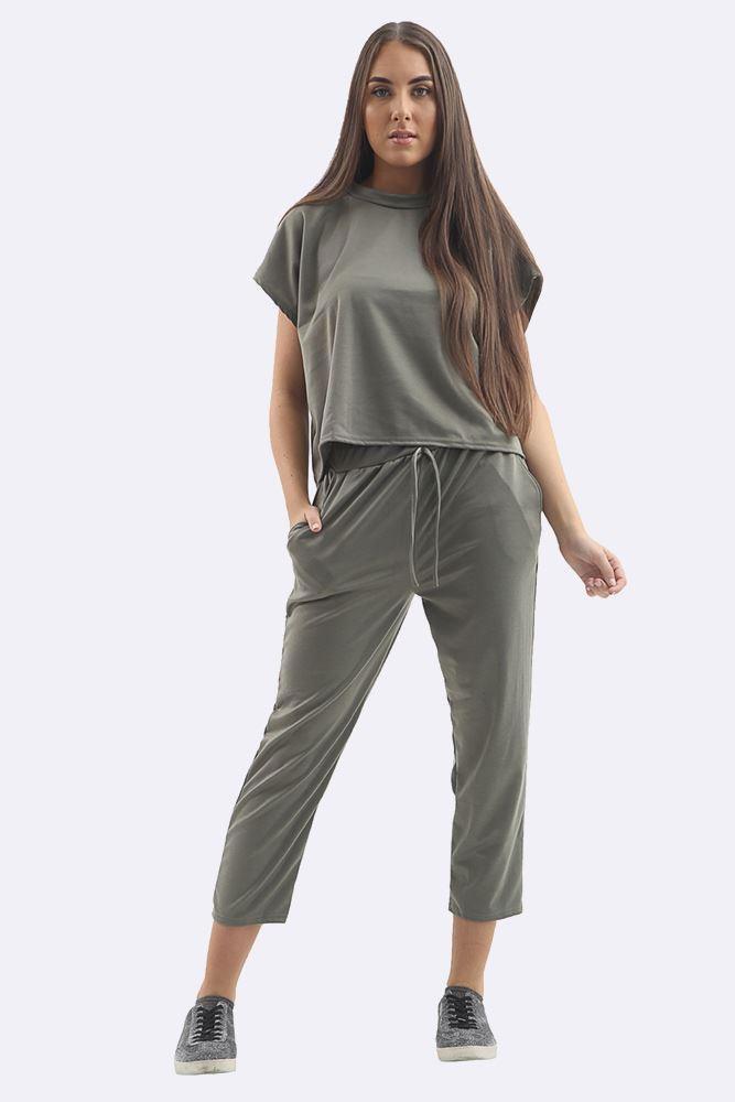 Plain Short Sleeve Tracksuit Khaki