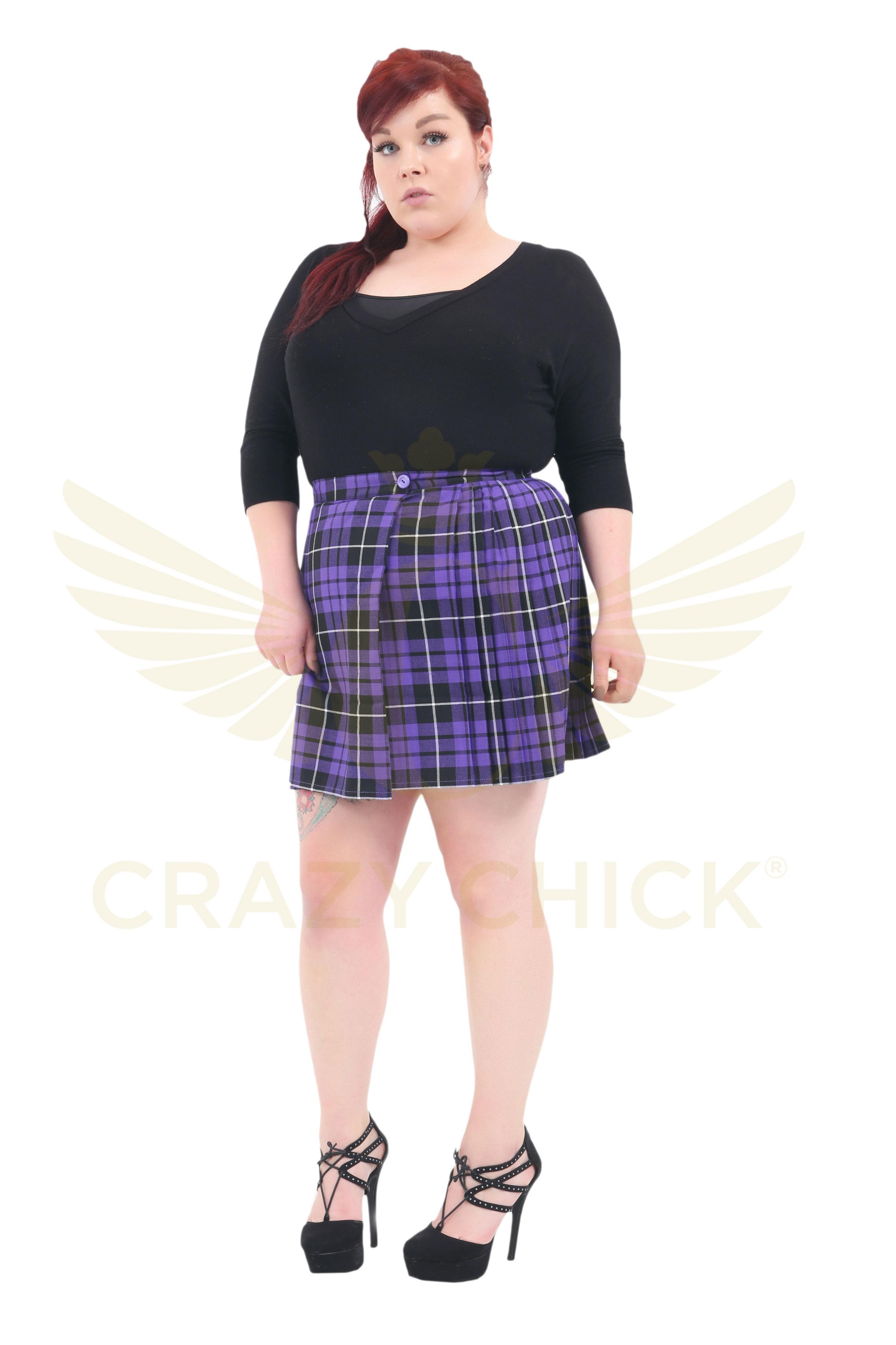 639f107c51d7c Plus Size 18 Inches Purple Wrap Over Tartan Skirt