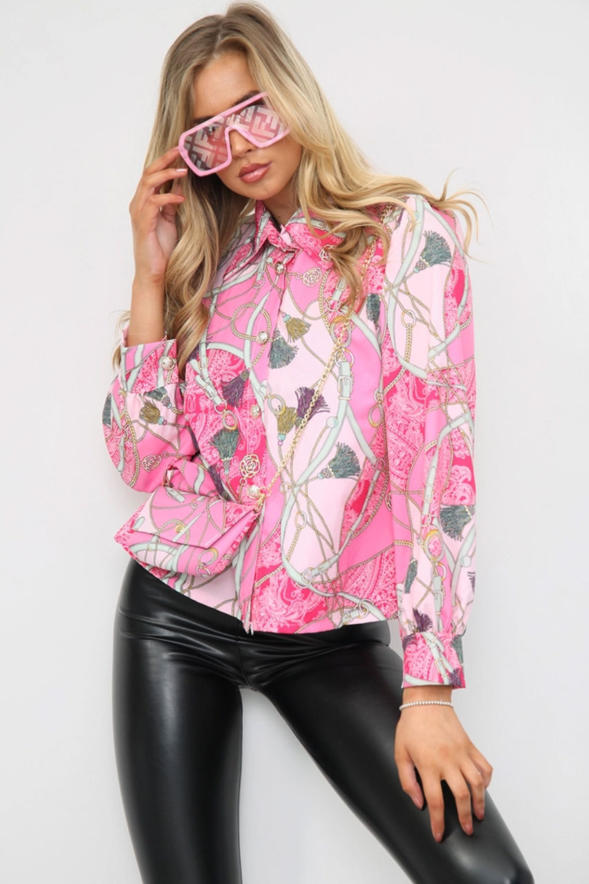 Printed Shirt With Matching Bag Pink