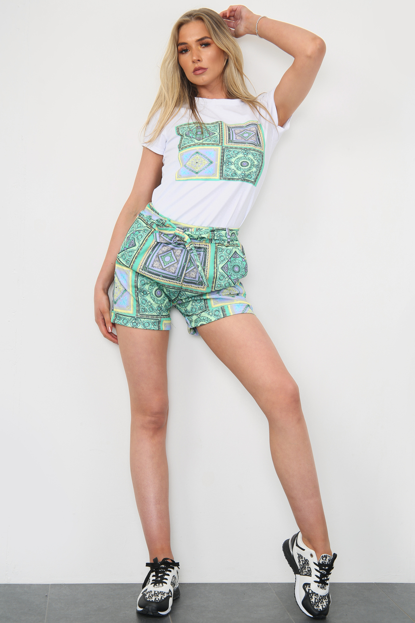 Printed-Shorts-&-White-Top-Co-Ord-Set-Green