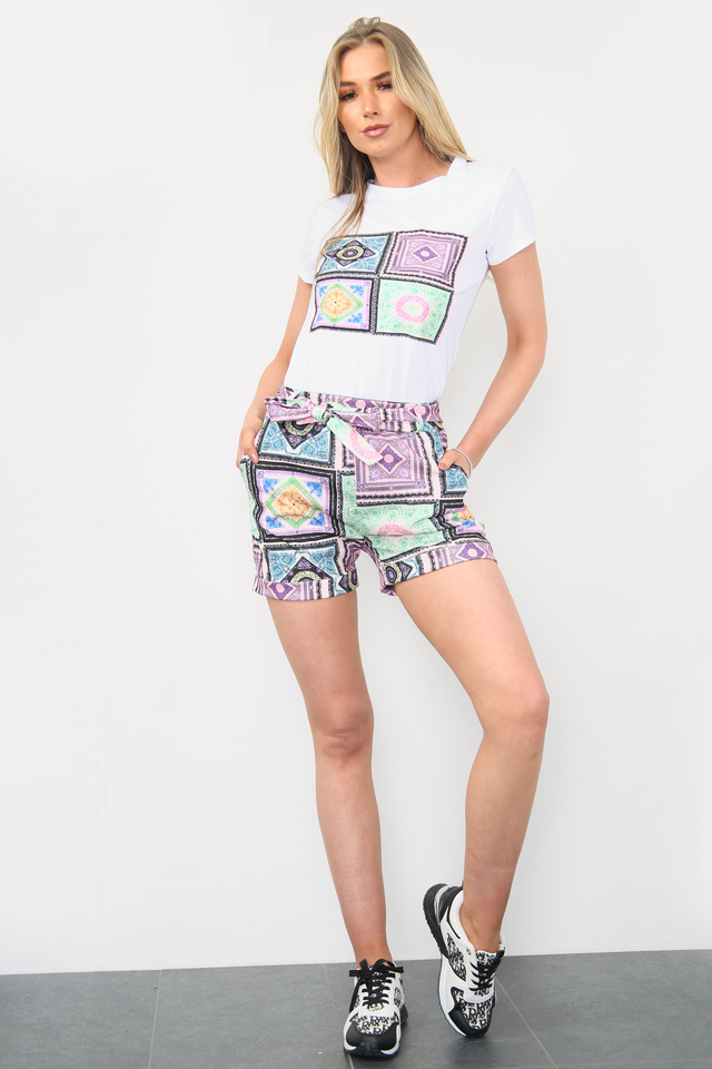 Printed Shorts & White Top Co-Ord Set Purple