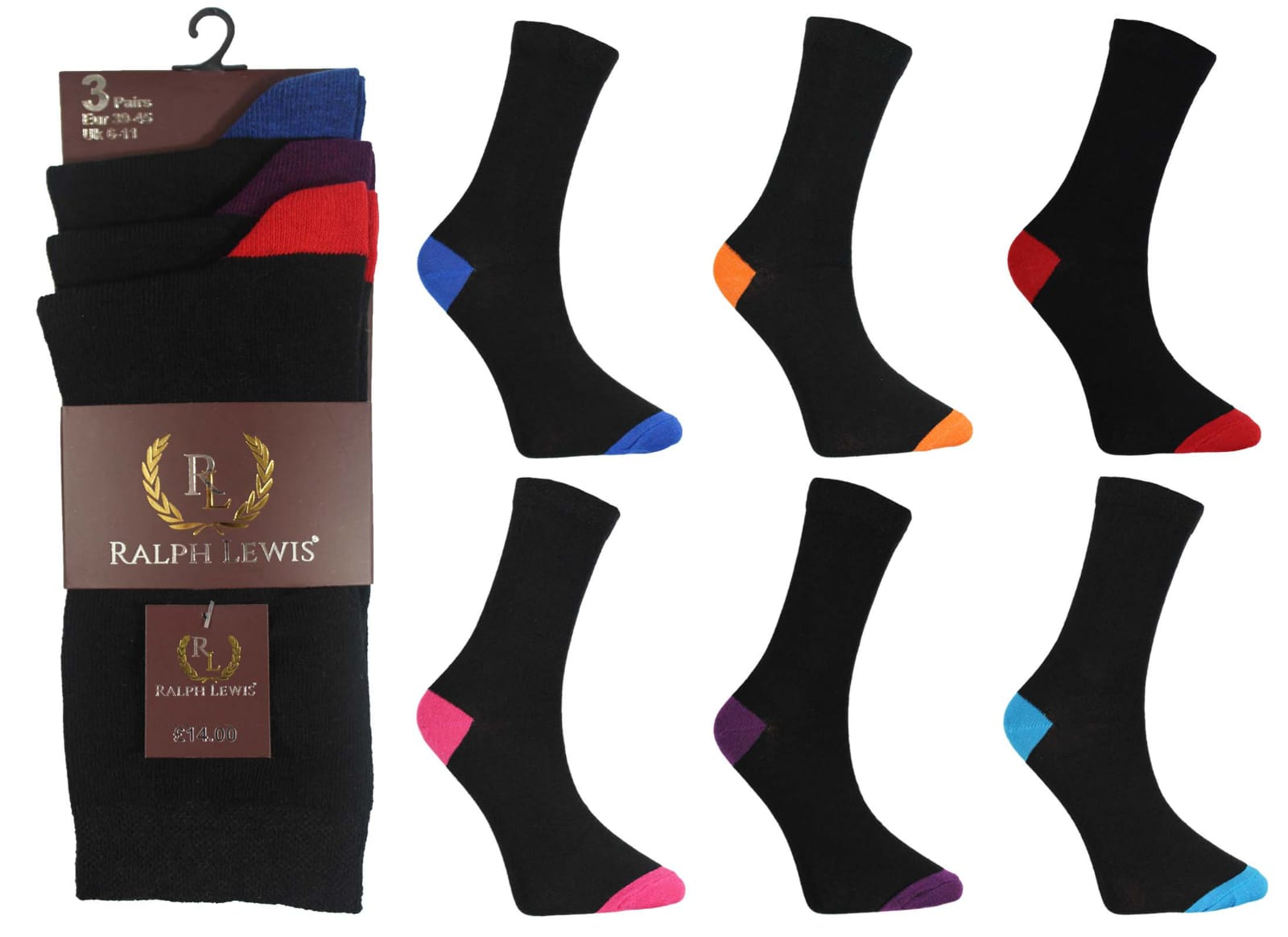 Men Ralph Lewis Assorted Colour Heel & Toe Cotton Socks (12 Pairs)