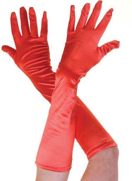Plain Satin Long Gloves Red