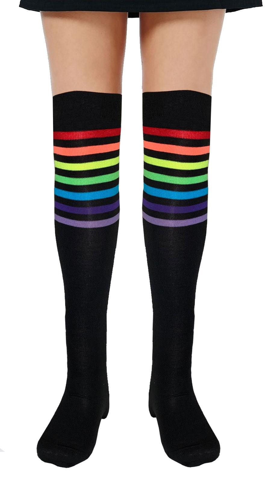 Referee Black and Rainbow OTK Socks (12 Pairs)