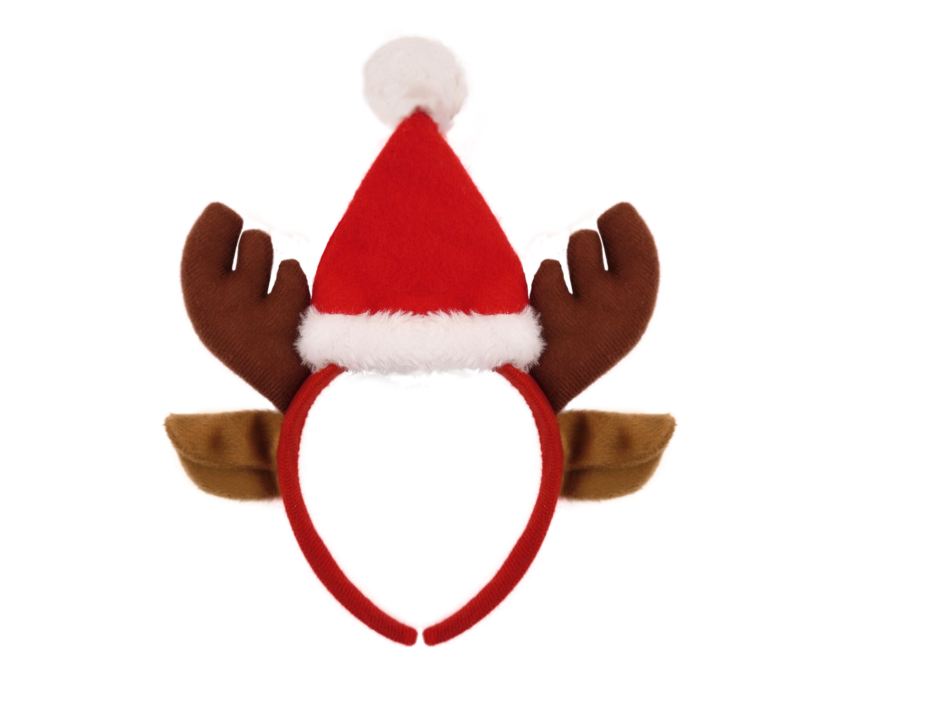 Reindeer Antlers W/ears Headband & Santa Hat