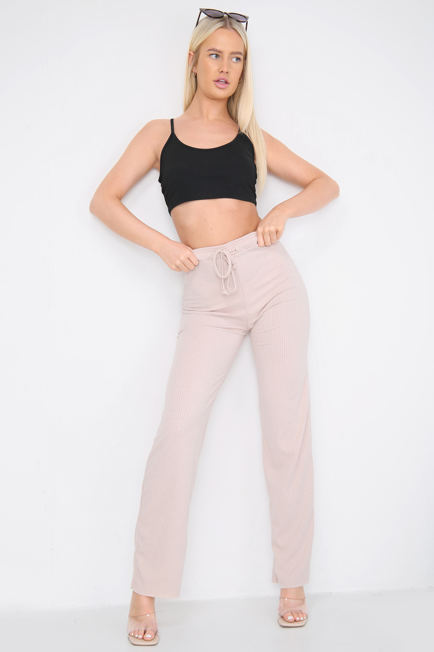 Ribbed Relaxed Fit Trousers Beige