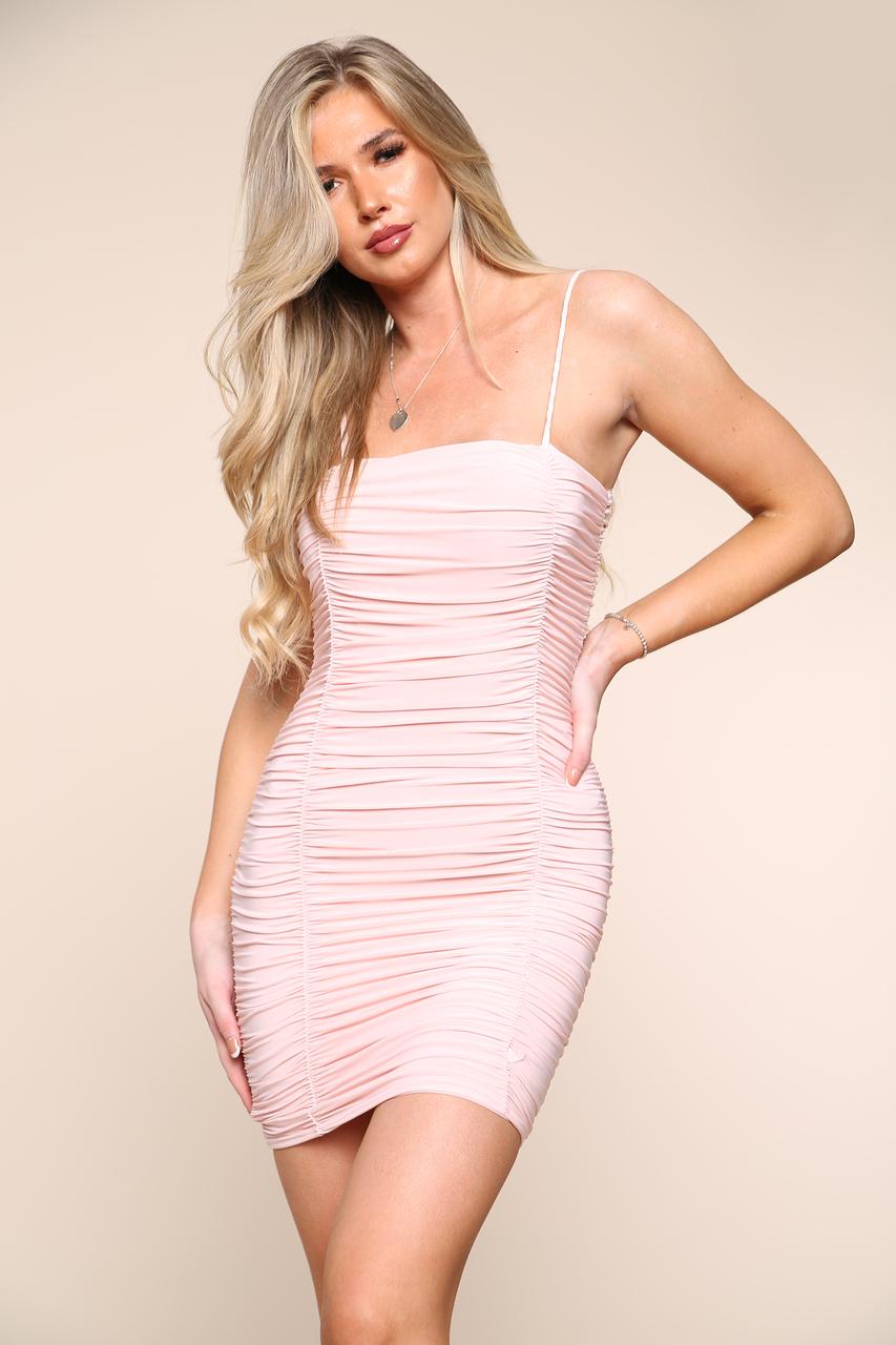 Ruched Slinky Mini Dress Pink