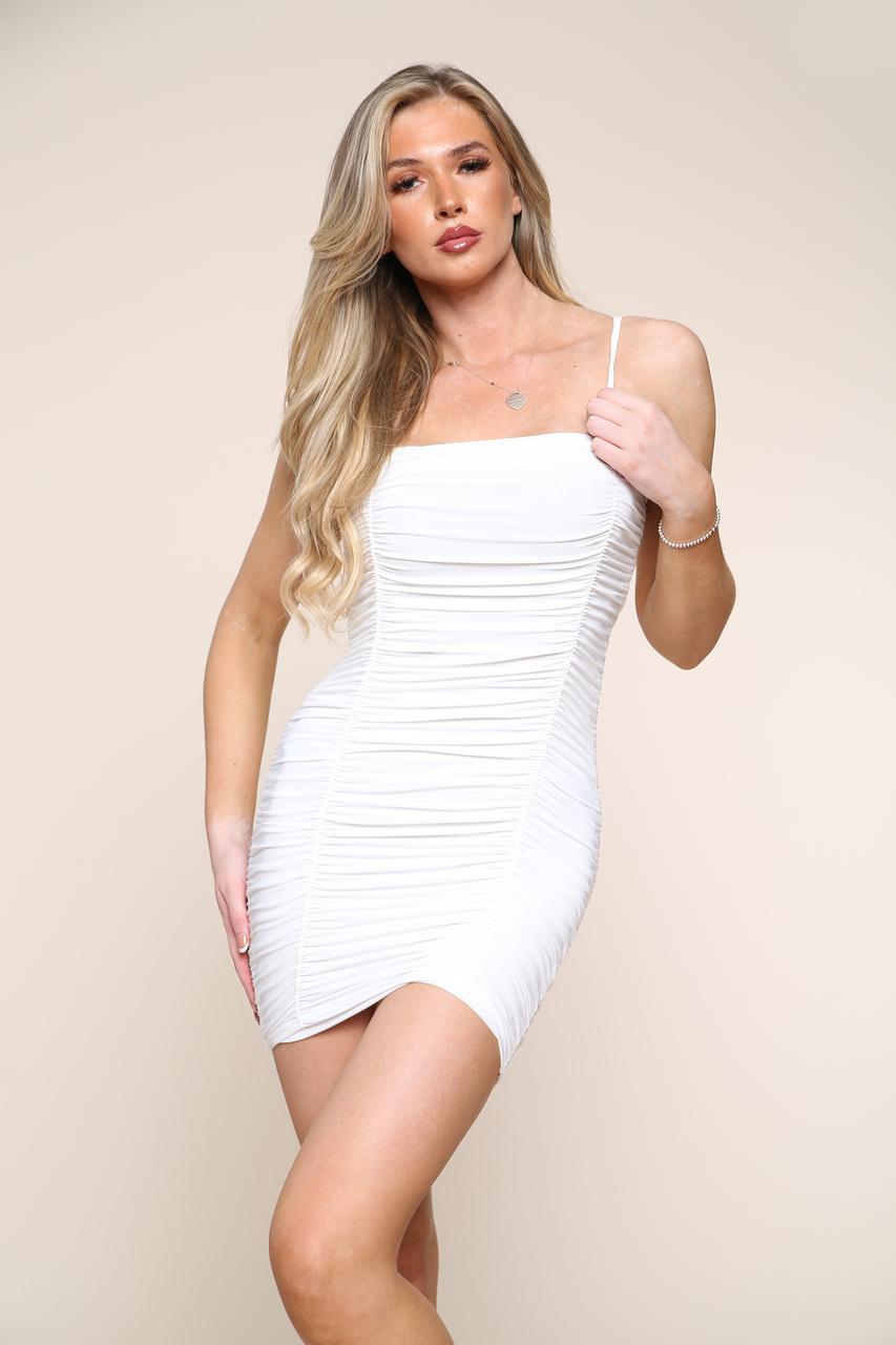 Ruched Slinky Mini Dress White
