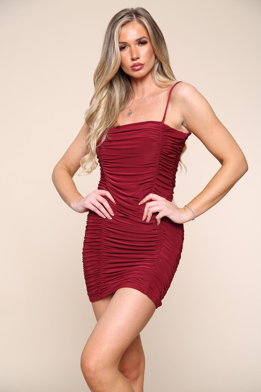 Ruched Slinky Mini Dress Wine