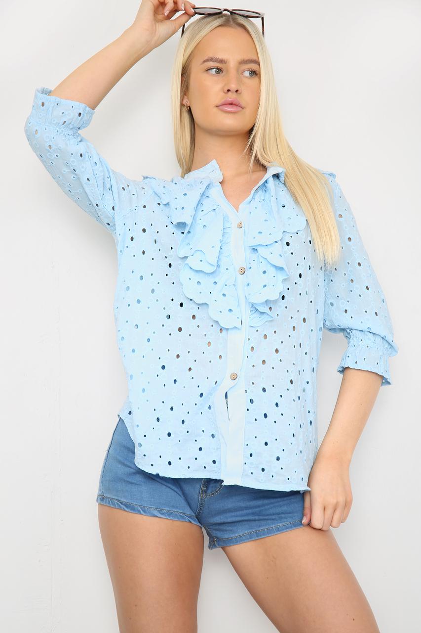Ruffle Front Shirt Blue