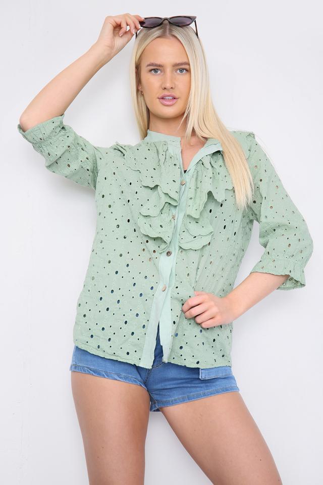 Ruffle Front Shirt Green