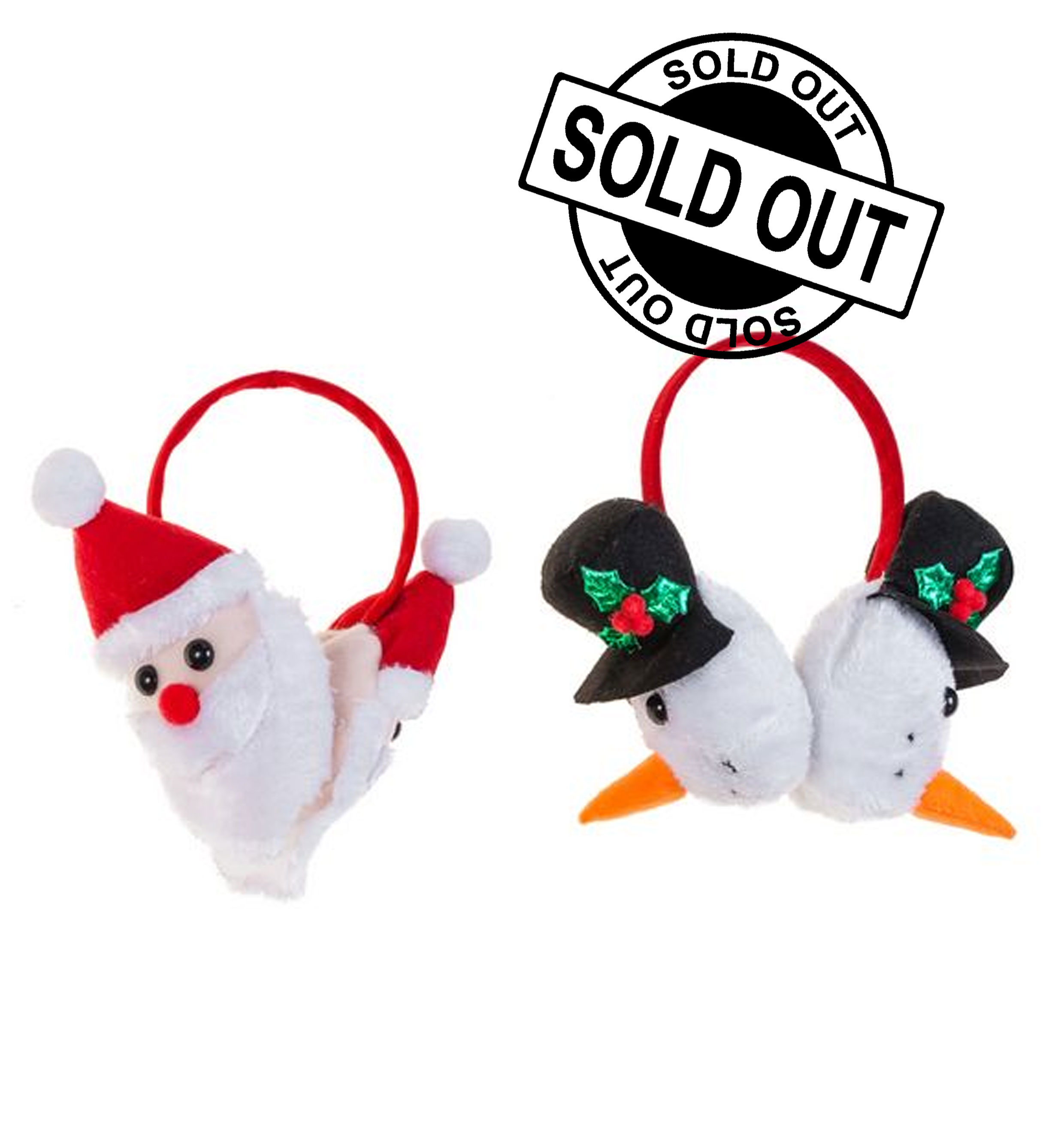 Santa Ear Muffs 2 Assorted