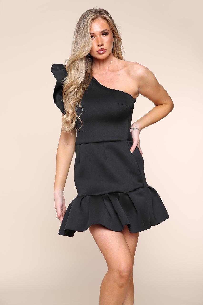 Scuba Off The Shoulder Dress Black