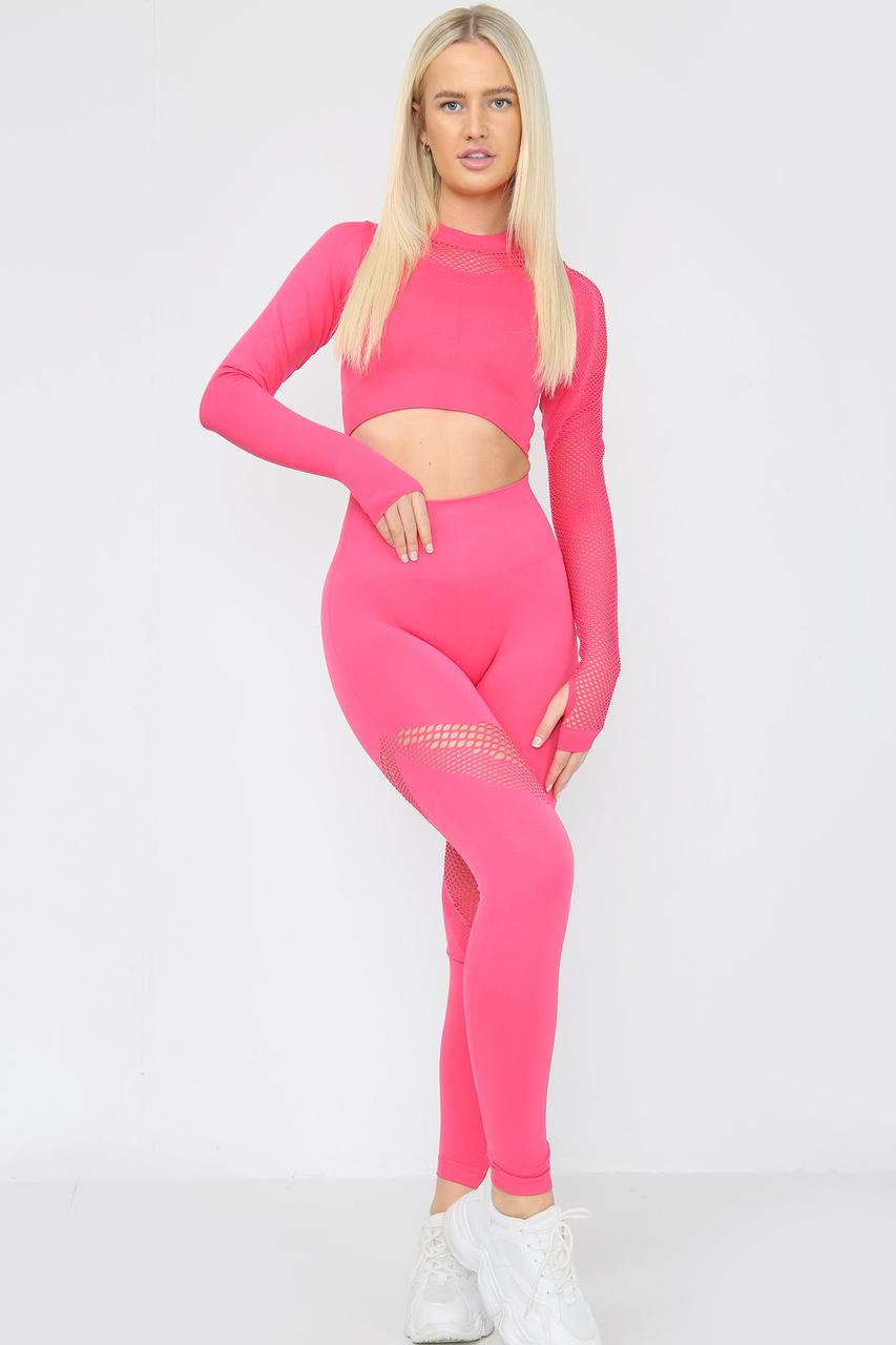 Seamless Fishnet Leggings Crop Top Co-Ord Set Pink