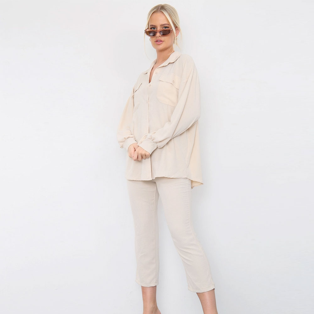 Shirt Capri Trouser Co-Ord Set Beige