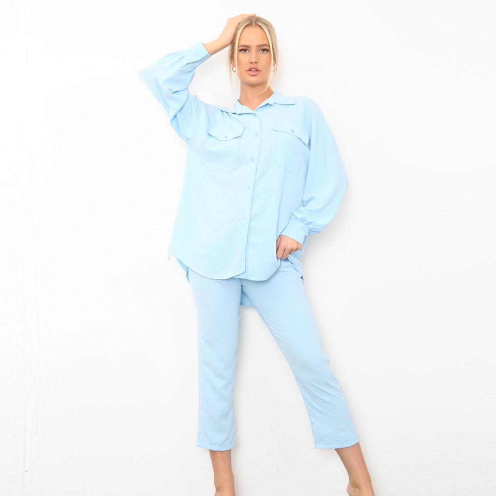 Shirt Capri Trouser Co-Ord Set Blue