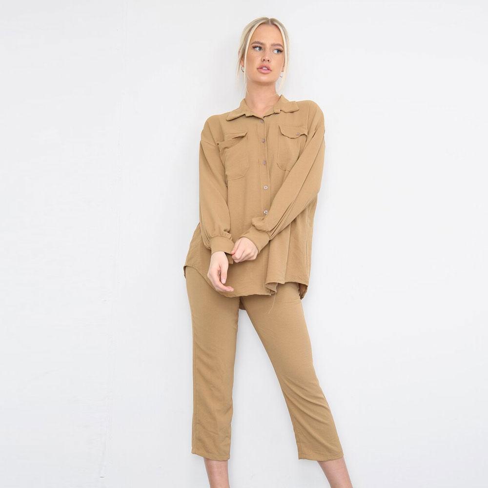 Shirt Capri Trouser Co-Ord Set Brown