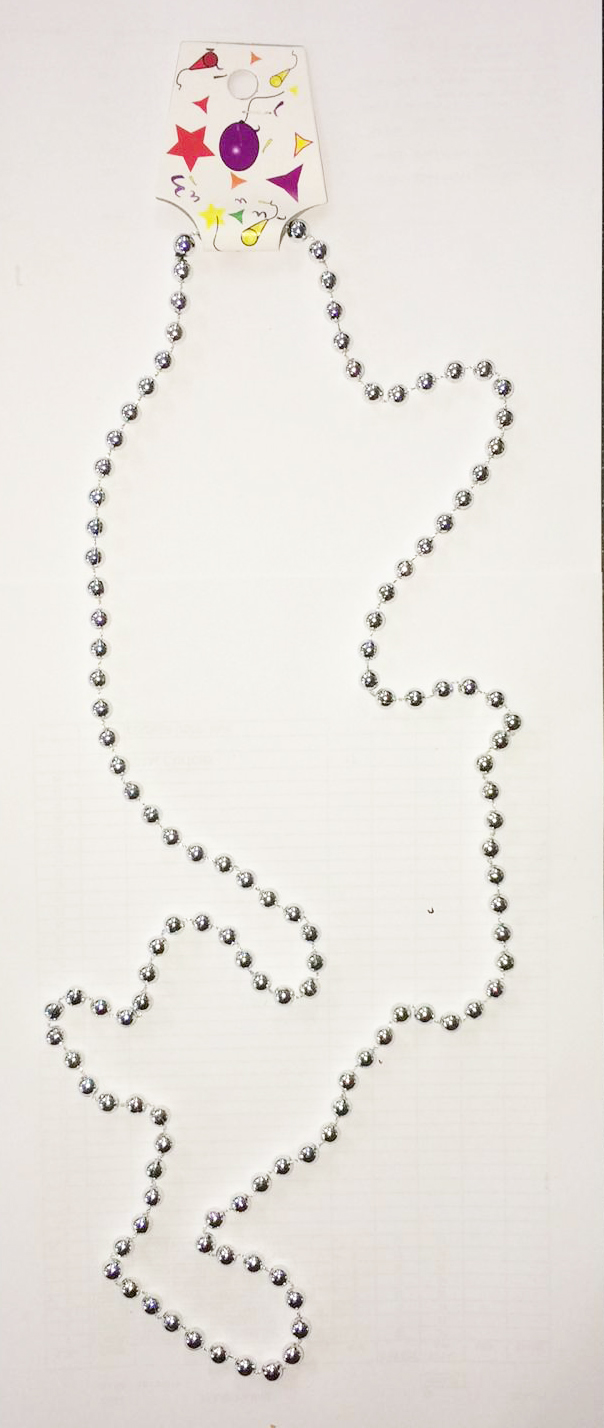 Silver Plastic Bead Necklaces (Approx 48 Inches)