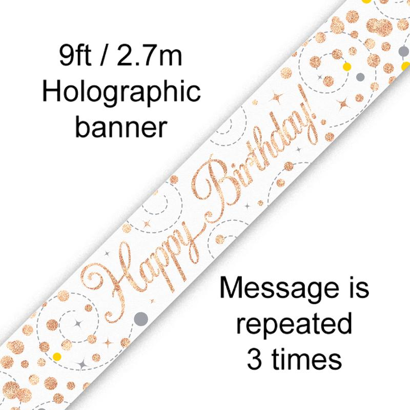 Sparkling Fizz Birthday White & Rose Gold Holographic Banner (9ft)