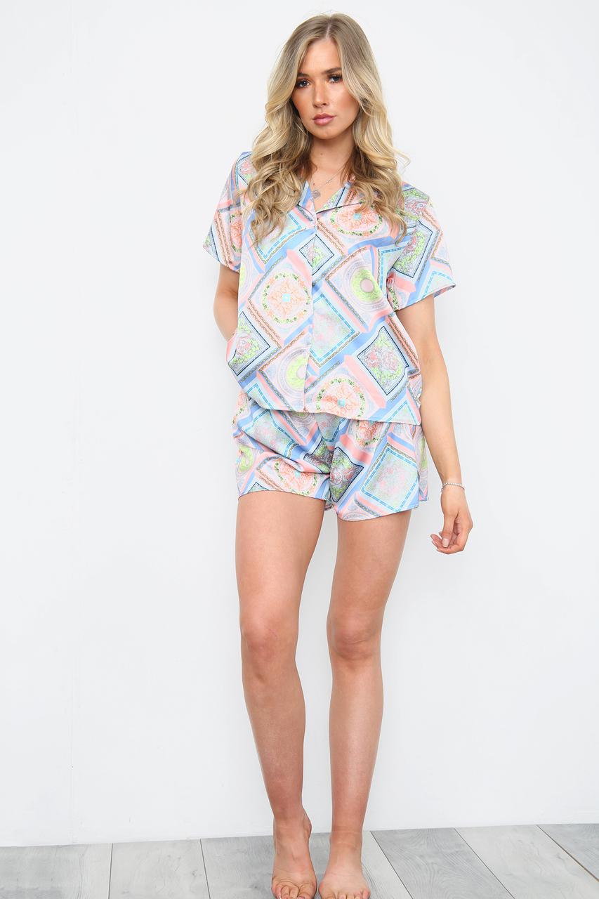 Square Multicoloured Pyjama Shorts Set Blue