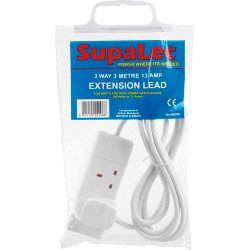 SupaLec 2 Gang Extension Lead - 3 Metre 13 Amp
