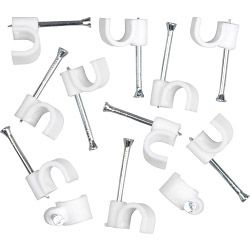 SupaLec Cable Clips Round Pack of 100 - 7mm - White