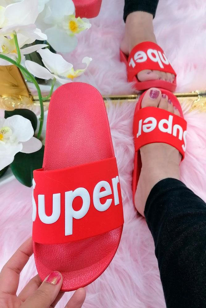 Super Text Printed Comfy Sliders Red