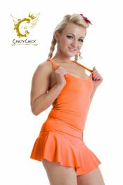 Crazy Chick Microfiber Neon Orange Vest Top