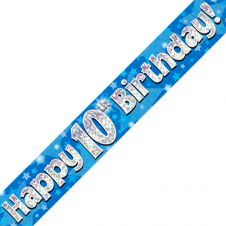 10th Happy Birthday Banner Blue Holographic (9 ft)