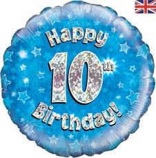 10th Happy Birthday Blue Holographic Balloon (18 Inches)