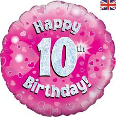 10th Happy Birthday Pink Holographic Balloon (18 Inches)