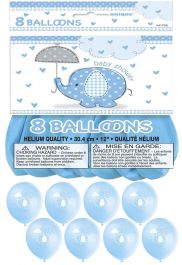 12 Inches UmbrellaPhants Blue Balloons (pack of 8)