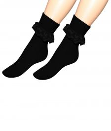 Black Ankle Lace Socks(12 Pairs)